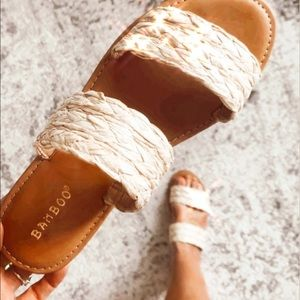 Time to Chill Natural Raffia Slide Sandals